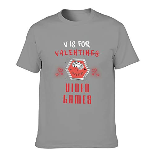 FFanClassic Hombres Algodón T-Shirt V is for Valentines Videojuegos Cool Funny - Tops Tops