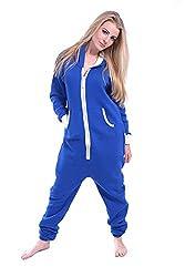 Women Ladies Plain Onesie Hoody All In One Zip One Piece Hoodie Jumpsuit – Blue Colour