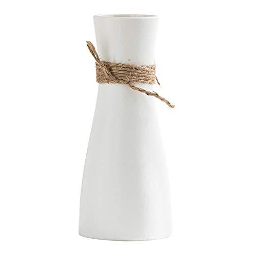 MagiDeal Jarrones de Flores de cerámica, jarrón Floral Decorativo con Cuerda de cáñamo, centros de decoración para el hogar, arreglos de decoración de Mesa de - Blanco