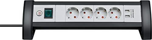 Brennenstuhl Premium Office-Line Steckdosenleiste 4-fach mit Schalter (Steckerleiste ideal für den Schreibtisch, 1,8m Kabel, 2-fach USB 3,1 A, Made in Germany) schwarz/grau