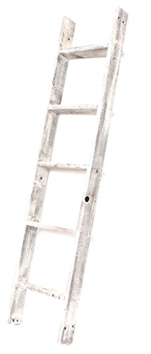 BarnwoodUSA Rustic Farmhouse Blanket Ladder  Our 5 ft Ladder can be Mounted Horizontally or Vertically and is Crafted from 100% Recycled and Reclaimed Wood | No Assembly Required | White