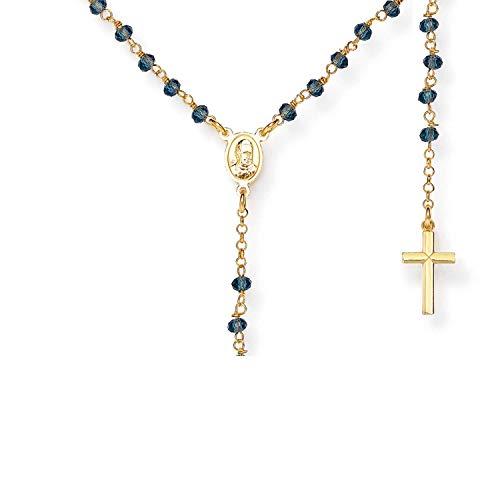Amen Collana In Argento 925 Collezione Rosari - Colore Oro - Misura Unica Rosario Classico Cristalli Blu