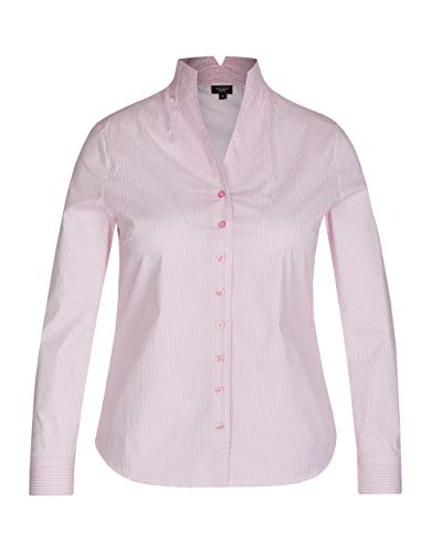 Bexleys Woman by Adler Mode Damen Business-Bluse mit Kelchkragen weiß, rosa 60