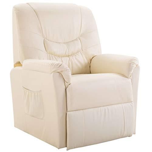vidaXL Liegesessel TV Sessel mit Liegefunktion Fernsehsessel Relaxsessel Liege Relaxliege Liegestuhl Ruhesessel Polstersessel Creme Kunstleder