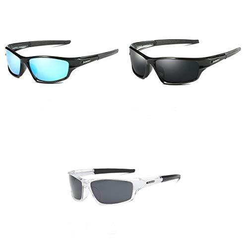 Yongqin 3 peças de óculos de sol esportivos polarizados para homens e mulheres, ciclismo, proteção para os olhos ao ar livre, visão noturna