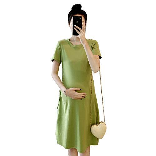 Zxl-wy Vêtements de Grossesse Coton col Rond Manches Courtes Minceur Longues Mince Femmes Enceintes Robe d'été (Color : Green, Size : XL)