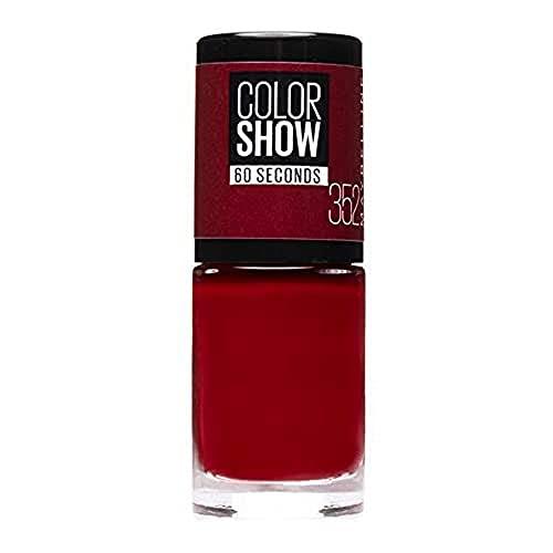 Maybelline New York - Color Show, Esmalte de Uñas Secado Rápido, Tono: 352 Downtown Red