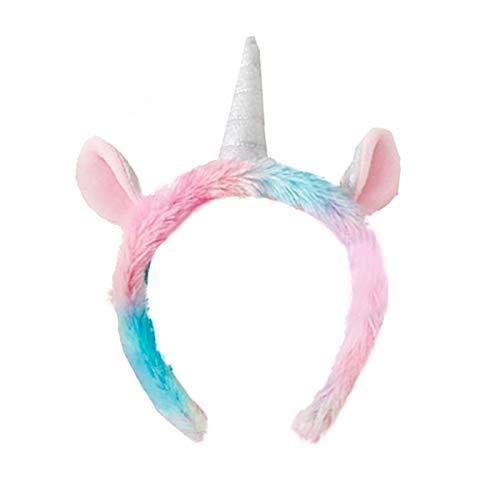Ensemble Licorne Masque de Sommeil+Bandeau Cheveux Licorne Masque de Nuit Flanelle Animaux Design Unisexe Respirant pour Dormir Voyage (Bandeau Cheveux Licorne)
