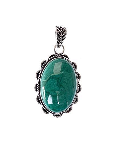 India Jewel Store Colgante de Collar de Piedras Preciosas de malaquita Verde para Mujer, Fiesta de Moda chapada en Plata Elegante joyería Vintage Artesanos Hechos a Mano Filigrana Fina pandant