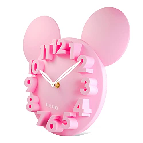 Lafocuse Rosa 3D Ziffern Maus Wanduhr Kinder Lustige Quarzuhr Deko für Kinderzimmer Teenager Zimmer 32x28x5cm