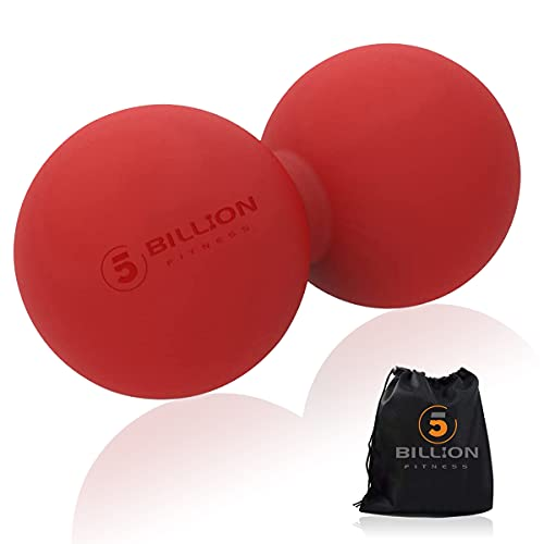 5BILLION Peanut Massage Ball - Double Lacrosse Massage Ball & Mobility Ball for Physical Therapy - Deep Tissue Massage Tool for Myofascial Release, Muscle Relaxer, Acupoint Massage (red)