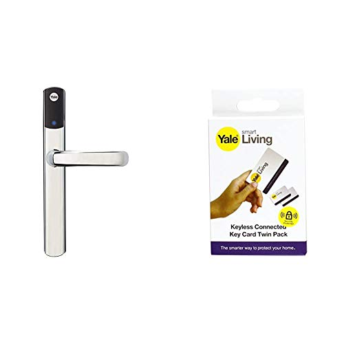 Yale Conexis L1 Smart Keyless Door Handle for Home Security, Remote Lock/Unlock, App Control, Chrome Finish [BSI Approved] + Add-on Key Cards 2 Pack, White