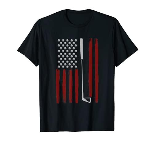Retro American Flag Golf Gift for Golfer Funny Golf Club T-Shirt