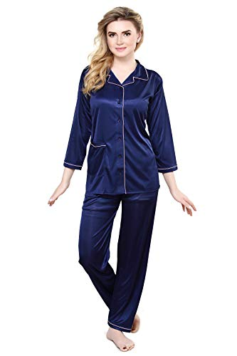TIGYWIGY Women's Satin 3/4th Sleeves Top and Pyjama Nightsuit Set_2000 (Navy Blue, Large)