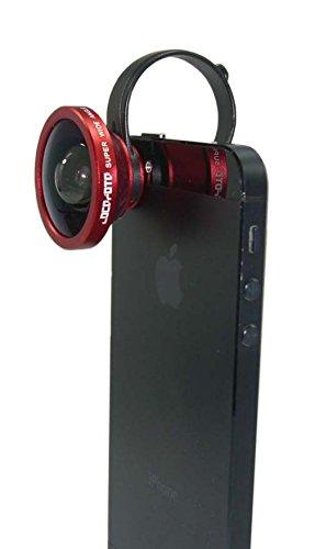 LM-SMSWIDE-RD (レッド) Glass SUPER WIDE Lens 0.4x 広角 スーパー ワイド レンズ 0.4倍 ガラス レンズ スマホ タブレット用 カメラ レンズ 取付けレンズ クリップ式