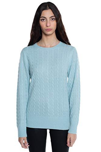 JENNIE LIU J Cashmere Women's 100% Cashmere Long Sleeve Pullover Crew Neck Sweater(L, Aquamarine)