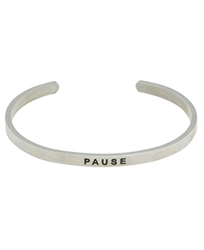 Buddha Groove Inspirational Engraved Cuff Bracelet, Pause