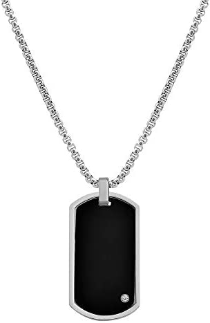 Geoffrey Beene Men s Stainless Steel Engraveable Dog Tag Pendant Box Chain Necklace with Cubic product image
