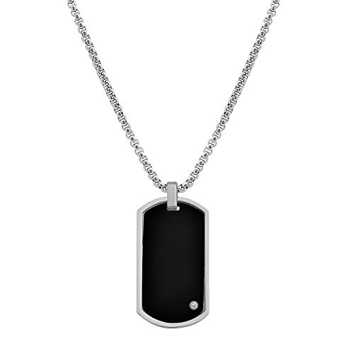 Geoffrey Beene Men#039s Stainless Steel Engraveable Dog Tag Pendant Box Chain Necklace with Cubic Zirconia Stone Black