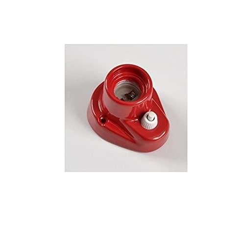 Portalámparas vintage E27 de porcelana base curvada con interruptor 0070 pared o techo – Rojo