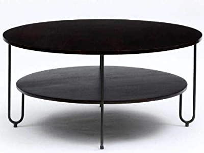 Dev Furniture Round Coffee Table with Rack