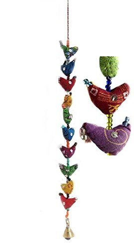 Mango Gifts 10-Bird Bell Tota Traditional Indian Hanging Decoration 2 Pieces India