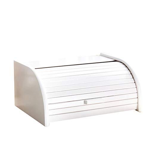 Panera de madera con puerta enrollable para guardar panes, tamaño pequeño, color negro, madera, Blanco, Large