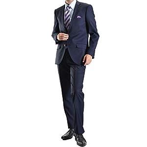 【MARUTOMI】スーツ 2ツボタンスーツ メンズ ビジネススーツ FICCE フィッチェ 2ツ釦 2釦 秋冬 スリムスーツ suit B:ネイビーシャドーピンストライプ 187305-88-YA4