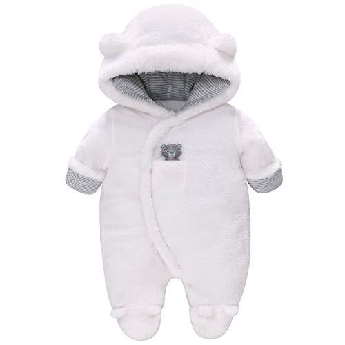 Vine Traje de Nieve Bebé Ropa de Invierno Footed Peleles Mameluco con Capucha Cálido Monos para Niños Niñas, Blanco 0-3 Meses