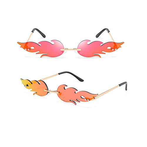 GYMO 2 Pares de Gafas de Sol sin Montura de Llama, Marco de Metal Dorado con Lunares Retro Adecuado para la Fiesta de Halloween,Rojo