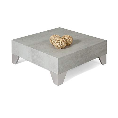 Mobili Fiver, Coffee table, Evolution 60, Grey Concrete, Laminate-finished/Brushed Stainless Steel, Made in Italy