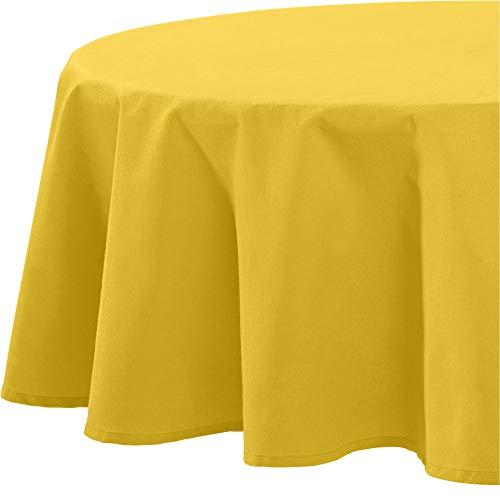 REDBEST Tischdecke, Tischwäsche Uni Seattle, 100% Baumwolle - Robustes, glattes Gewebe, gelb Größe rund 160 cm Ø (weitere Farben, Größen)