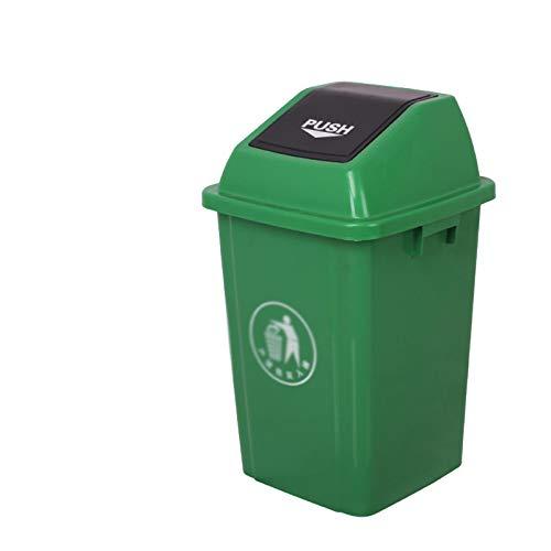 Chang-S-Q-123 Contenedores De Reciclaje De Basura Interior, Papelera De Plataforma De Plataforma De Plástico De La Tapa De La Cocina Del Restaurante De La Cocina Con La Tapa, 60L(Size:60L,Color:Verde)