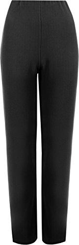 WearAll - Damen Übergroße Strecken gerippten Hose gerades Bein - Schwarz - 52 bis 54