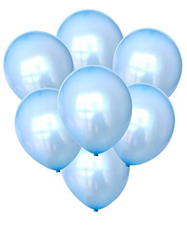 Chailert Balloon: 12 Zoll hellblauer Ballon metallischer Ballon perlized Ballon für Party Dekoration, 100 Stücke (Pastellblau)