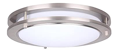 LIT-PaTH 15 Inch Dimmable LED Flush Mount Ceiling Lighting Fixture, 27.5W Replace 200W, 1925 Lumen, 4000K, Satin Nickel Finish, ETL and ES Qualified
