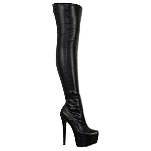 Damen Overknee-Stiefel mit Stretchanteil - High Heels aus Kunstleder - Schwarz PU - EUR 42
