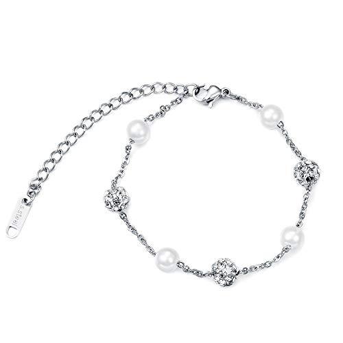 Bracelet Bracelet De Perles Double Couche Femmes Fille Or Rose Couleur Argent Poignet Maillon De Chaîne Réglable 8,3 Pouces Charme Bijoux À La Mode Argent-B