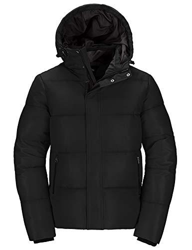 Wantdo Men's Winter Coat Thicken Hooded Jacket Parka Outwear Black Medium