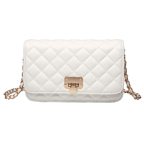 Women Leather Shoulder Bag Fashion Clutch Handbag Quilted Designer Crossbody Bag with Chain Strap (White)