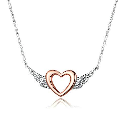 DGFGCS Collar de Plata para Mujer Collar De Cadena Simple De Corazón con Alas 925 para Mujer Collar De Joyería De Color Oro Rosa 2020