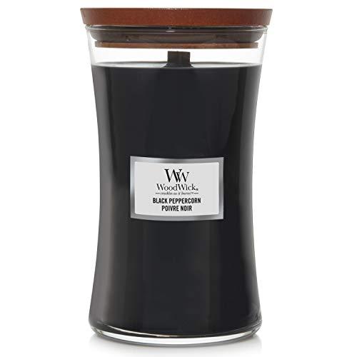 WoodWick große Duftkerze im Sanduhrglas mit knisterndem Docht | Black Peppercorn | Brenndauer bis zu 130Stunden