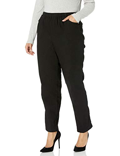 Chic Comfort Collection Women's Size Plus Cotton Pull-On Pant with Elastic Waist, Black Denim, 20W
