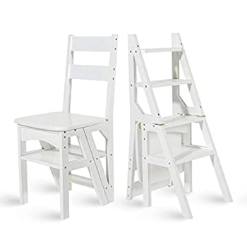 Step Chair/Step Stool/Ladder Multi-Functional Convertible Folding Library Ladder Chair 4-Step Stool Home Decorative Shelf or Climb Step Heavy Duty Max 330lbs  Color   White