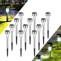 UNNYLLY Solar Pathway Lights Landscape Lights Outdoor Bright Warm Yellow Solar Powered LED Garden Lights for Lawn, Patio, Yard,12Pack
