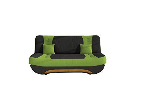 MOEBLO Sofa mit Schlaffunktion und Bettkasten, Couch für Wohnzimmer, Schlafsofa Federkern Sofagarnitur Polstersofa Wohnlandschaft mit Bettfunktion - Feba (Schwarz+ Grün (Alova 04+Alova42))