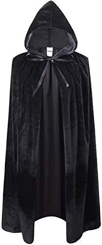VIROSA Unisex Value Black Vevet Style Hooded Cape Adult/Kids Fancy Dress Costume, Unixsex, Halloween, Fancy Dress