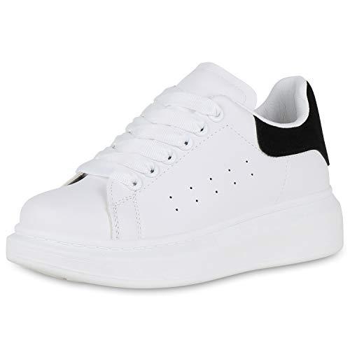 SCARPE VITA Damen Plateau Sneaker Turnschuhe Schnürer Leder-Optik Plateauschuh 174330 White Schwarz 39