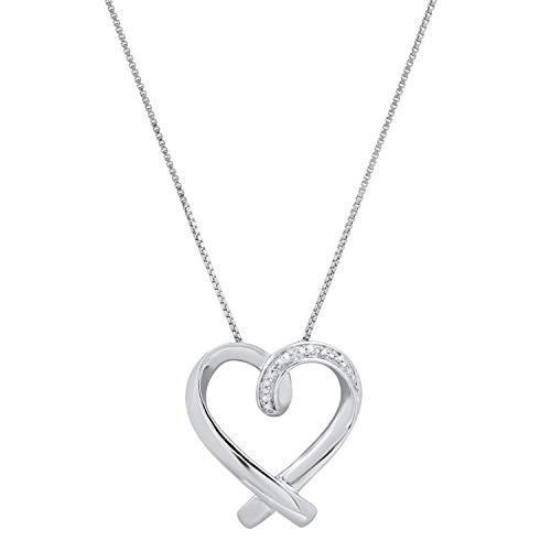 Dazzlingrock Collection Ladies Heart Pendant with Round White Diamond Accents, Sterling Silver