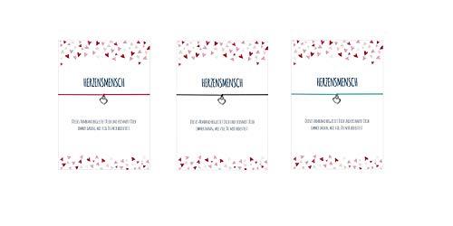 Glücksschmiedin 3er Set 3 x Wunscharmband HERZENSMENSCH mit Herz Anhänger versilbert, elastischem Textilband in pink, türkis und schwarz und liebevoller Karte